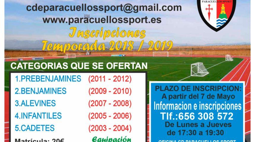 Inscripciones temporada 2018/2019